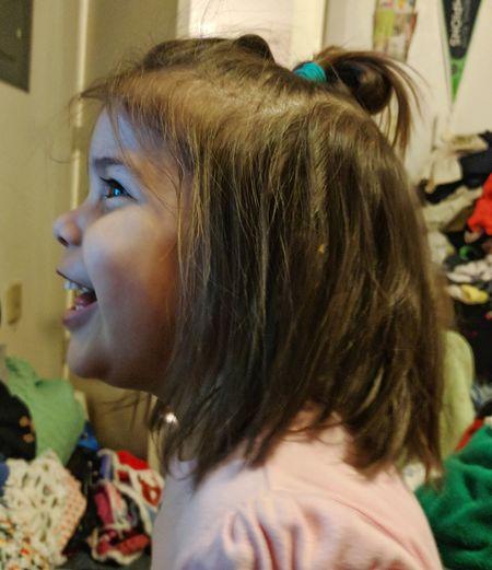 Close-up of girl at home