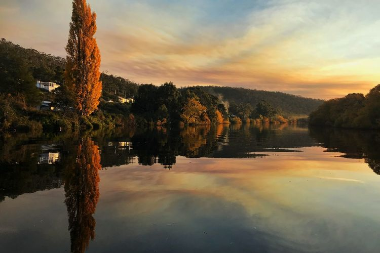 Autumn in the Derwent Valley Tasmania Sunset Autumn Water Sky Reflection Sunset Tree Cloud - Sky Plant Beauty In Nature Nature Scenics - Nature Tranquility Tranquil Scene Waterfront