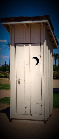 Architecture Sky Day Outdoors Green Color No People Outhouse Closed Building Exterior Vintage Sahuaro Ranch Glendale, AZ Arizona Crescent Crescent Moon Hinges White Sunlight Illuminated Symbol Full Frame Built Structure Circle Vacancy Exterior