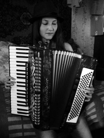 Accordion Musical Instrument Women People Headwear Contryside White Black Playing Only Women One Person Long Hair Summer Grey Indoors  Blackandwhite Young Adult