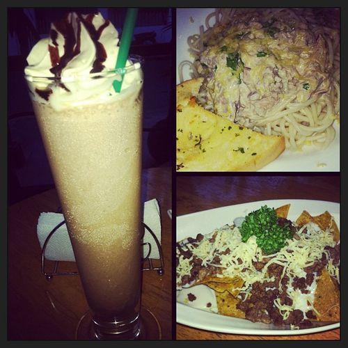 Leisure day. Kahit mukang magkakaksakit ako :)) eat up goiz :) walang cheesecake </3 Frappe Spicytunapasta Beefynachos Don -a