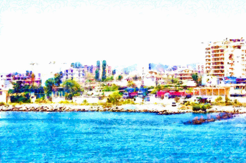 With the ship coming from Italy, I see Valona and the harbor pier from the sea Architecture Art Beauty In Nature Building Exterior Built Structure City Cityscape Clear Sky Digital Art Digital Painting Multi Colored Nautical Vessel Outdoors Scenics Sea Skyscraper Water Watercolor Watercolor Painting Waterfront