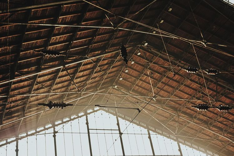 Low angle view of roof hanging from ceiling