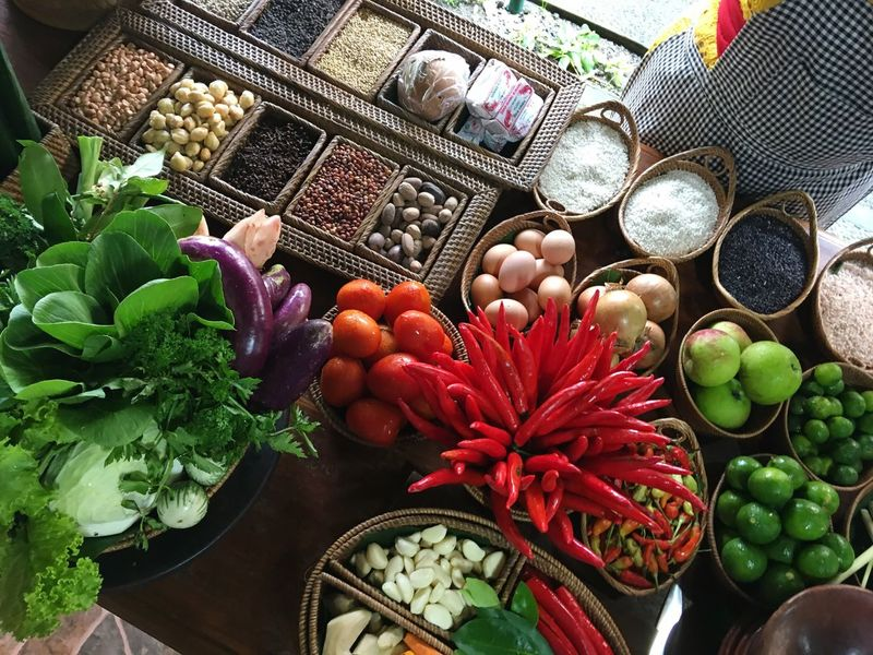 Bali Ubud Cooking Cooking Class Balinese Food Balinese Food Fresh Produce Chilli Ginger Turmeric  Vegetables Galangal Nutmeg Lime Lemongrass Rice Egg Healthy Eggplant Eating Vibrant Color Vibrant Picoftheday