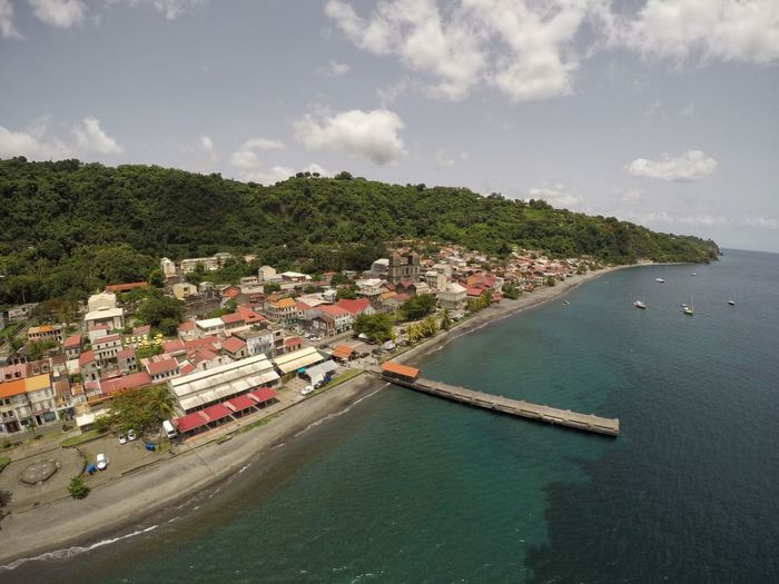 Saint-Pierre, Martinique Architecture Building Exterior Sea High Angle View Built Structure Sky Water Town Day Tree No People Nature Outdoors Cityscape Mountain Beauty In Nature City Tropical Climate Drone  Karma Island Martinique Gopro