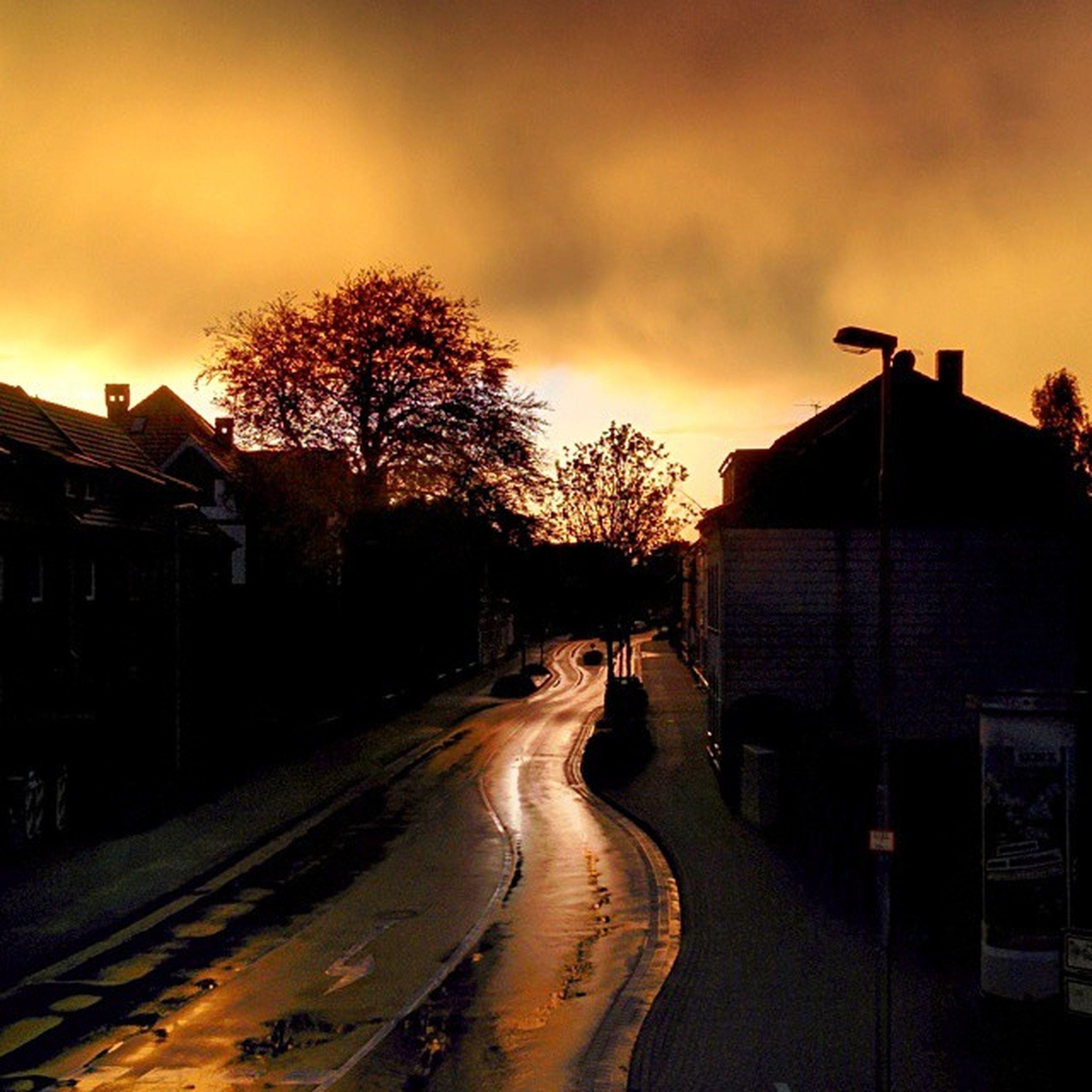 sunset, building exterior, architecture, sky, built structure, the way forward, transportation, tree, house, road, orange color, street, cloud - sky, dusk, bare tree, diminishing perspective, outdoors, residential structure, silhouette, no people