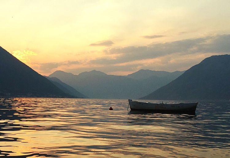 Boat Sea Sunlight Water Reflections Dobrota, Montenegro