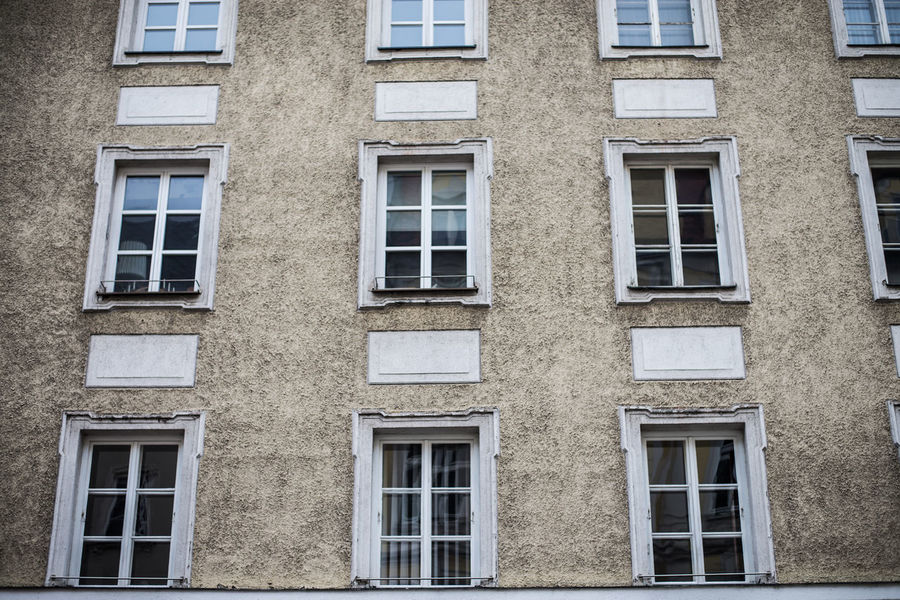Architecture Backgrounds Brick Wall Broken Building Building Exterior Built Structure Day Full Frame Glass - Material No People Repetition Side By Side Wall Window