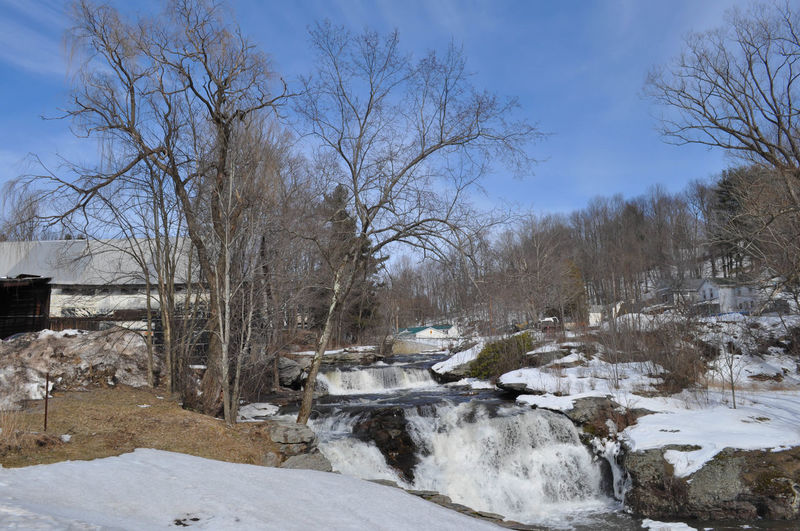 Winter Waterfall in Honesdale Pennsylvania Honesdale Nature Pennsylvania Tranquility Winter Blue Sky Cold Landscape No People Outdoors Poconos River Snow Water Waterfall