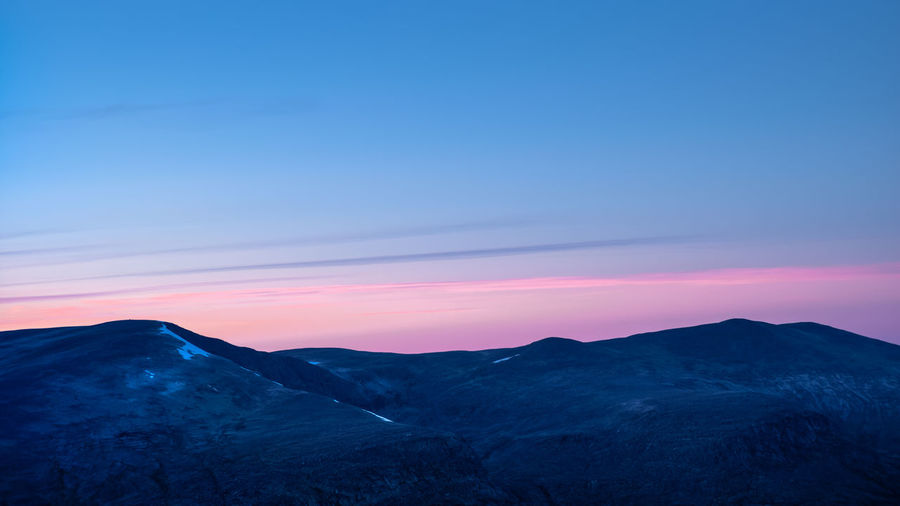 North sky after sunset. From Snøhetta, Dovre, Norway. Scenics - Nature Sky Mountain Beauty In Nature Tranquil Scene Tranquility Sunset Non-urban Scene No People Mountain Range Idyllic Nature Environment Landscape Remote Blue Physical Geography Travel Destinations Outdoors Norway Dovre