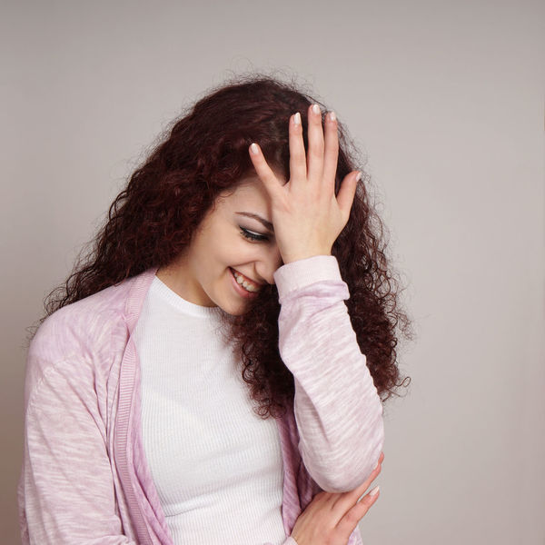 Embarrassed Embarrassment Face Palm Facepalm Funny Girl Holding Human Hand Indoors  Laughing Person Real People Smiling Women Young Adult Young Women