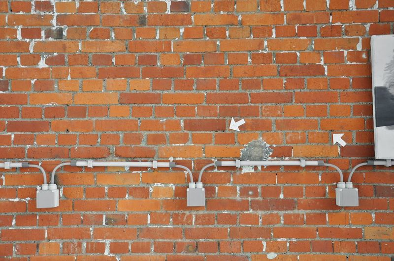 Arrows Brick Wall Bricks Electricity  Electricity Wires Red Socket Sockets Wall Symmetry Symmetrical