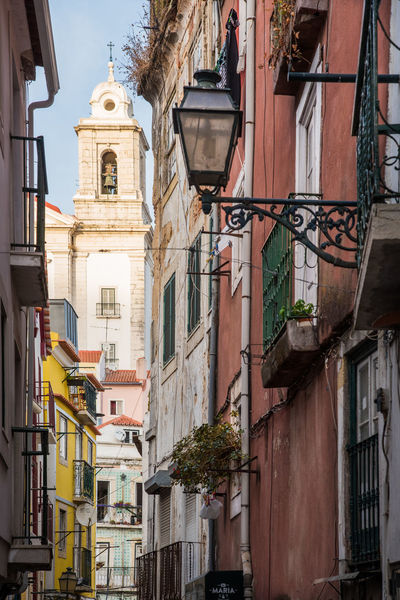 Afternoon Church Colourful Façade Perspective Perspectives Portugal Architecture Balcony Building Exterior Built Structure City Day Landmark Lifestyles Light And Shadow Lisbon Low Angle View No People Outdoors Street Street Photography Streetphotography Vegetation Window