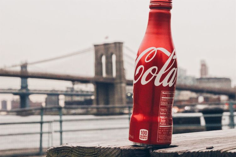 Architecture Outdoors Close-up City Red City Life Photography Modern New York City Adventures Coca Cola Brand Brooklyn Bridge / New York Brooklyn Bridge  Seaport Seaport District Sky Bottle