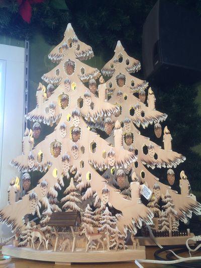 Christmasmarket Wooden Christmas Trees Illuminated No People
