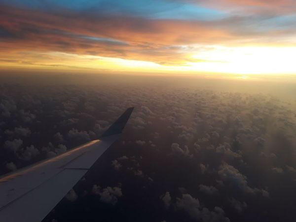 Airplane Flying City Cityscape Sunset Aerial View Commercial Airplane Air Vehicle Aircraft Wing Sunlight Plane Airplane Wing Fly Fog Atmospheric Mood