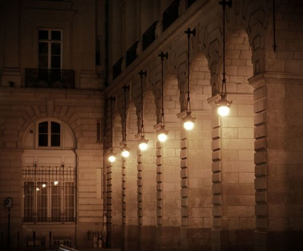 Architecture Illuminated In A Row Lampes Lighting Equipment Night No People Outdoors Reflection Reflets Vintage