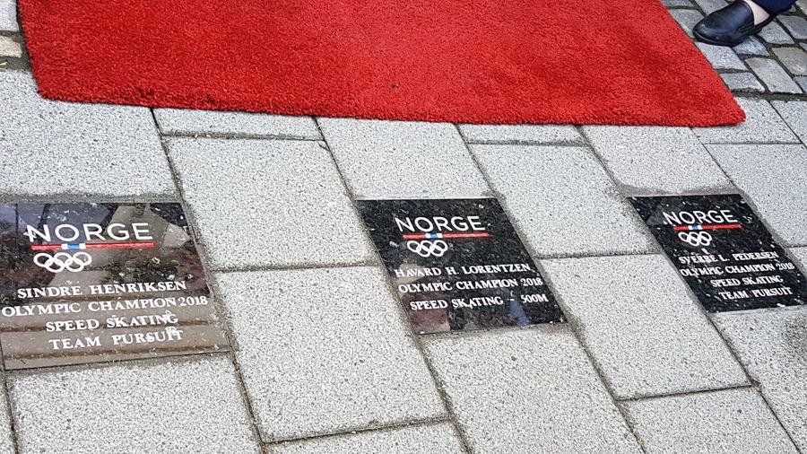 Bergen Walk Og Fame Red Communication Text High Angle View Street Textured
