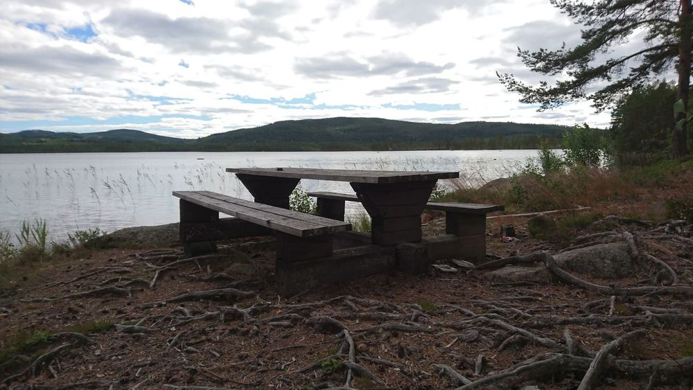 Bench Alone Sea Seaside Grey Sky My Point Of View Nature Outdoors No People Middle Of Sweden Norrland Wilderness Beauty In Nature Tranquility Landscape Tourism Take A Break Swedish Fika Breathing Space