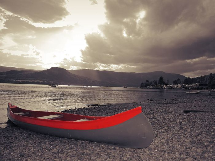Norway Beach Beauty In Nature Black And Red Colour Cloud - Sky Land Mode Of Transportation Moored Mountain Nature Nautical Vessel No People Outdoors Scenics - Nature Sea Sky Sunset Tranquil Scene Tranquility Transportation Water
