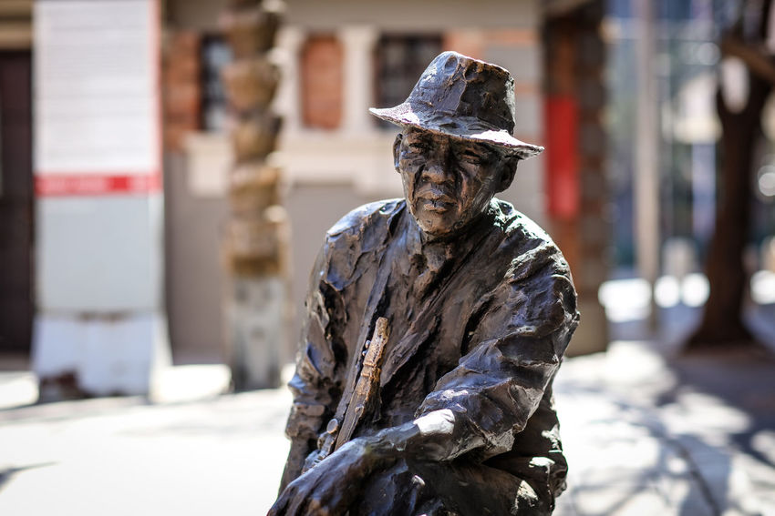 Hugh Masekela Bronze Hugh Masekela Art And Craft Bronze Statue City Clothing Day Human Representation Jazz Music Music Legend One Person Outdoors Sculpture Statue Urban Art