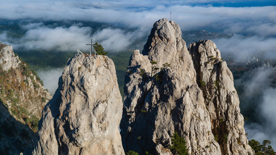 Rocky mountain range in the daytime. battlements of mount ai-petri, yalta, crimea