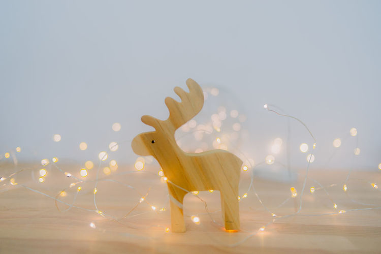 View of deer on illuminated wall against sky