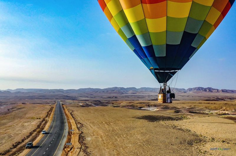 View of hot air balloon on road