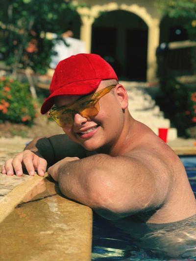 Baseball Cap Water Swimming Smiling Men Portrait Happiness Headshot Athlete Cheerful