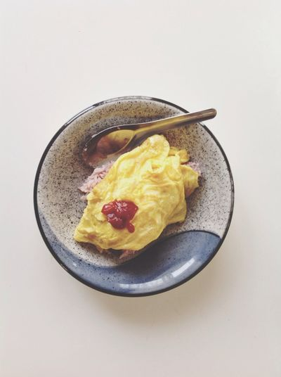 Directly Above Shot Of Served Rice With Omelette In Bowl