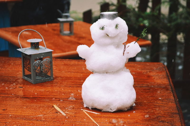 High angle view of snowman on table