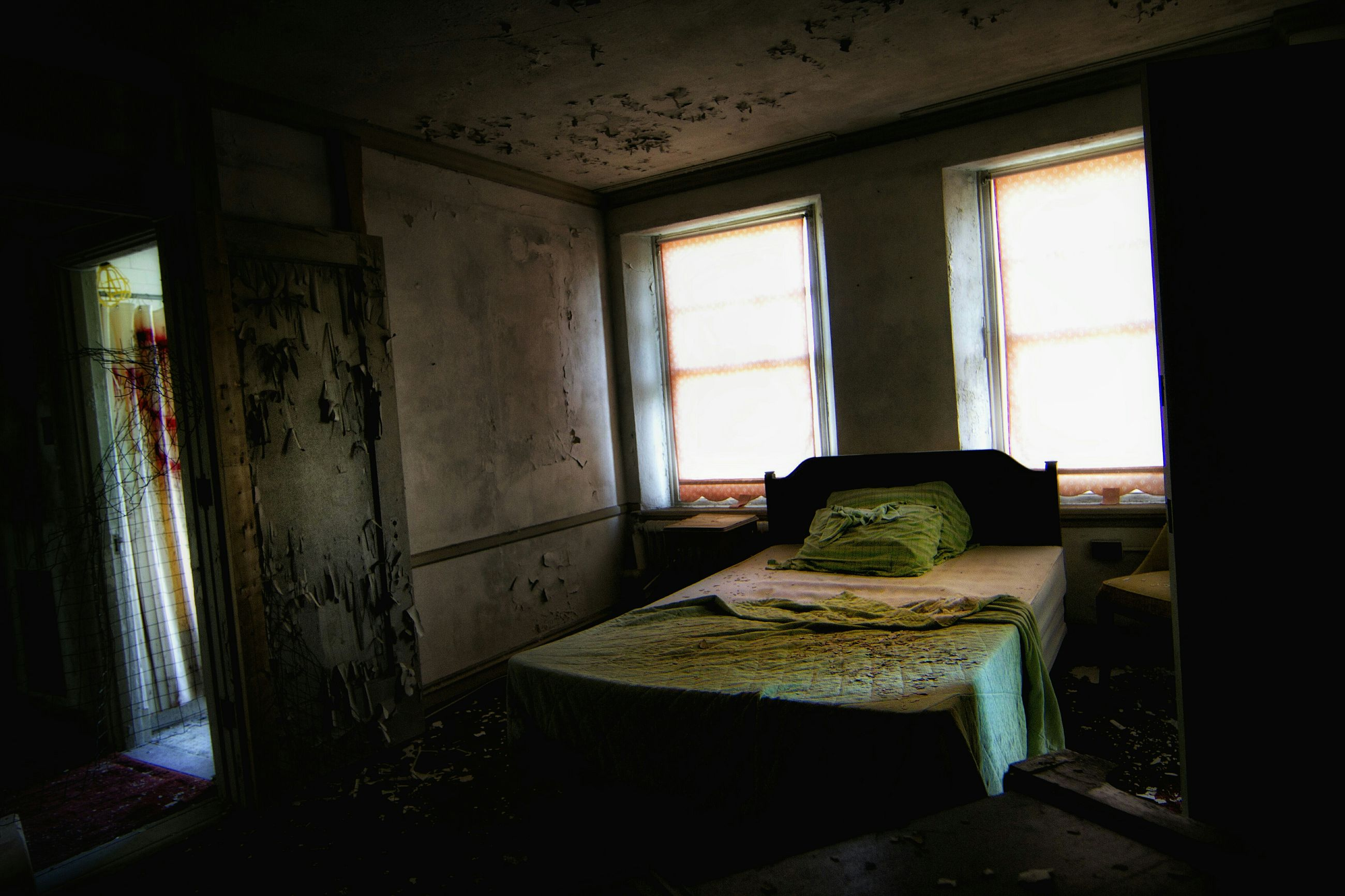 indoors, window, abandoned, interior, obsolete, damaged, home interior, old, run-down, deterioration, absence, empty, architecture, house, built structure, room, messy, bad condition, broken, chair