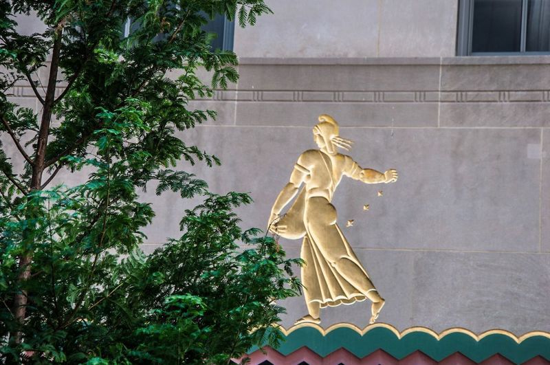 Human Representation Statue Sculpture Art And Craft Art Gold Colored Low Angle View Creativity Growth Building Exterior Day Outdoors In Front Of Green Color Famous Place No People Golden Large Nikon Gold New York