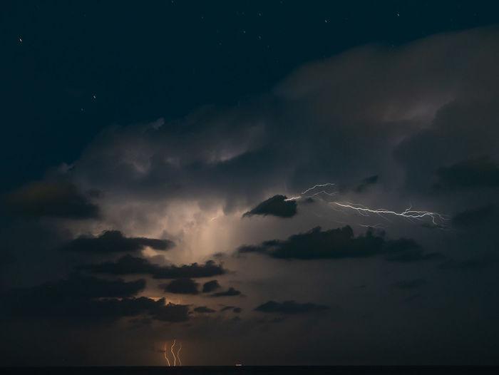Aerial view of lightning in sky