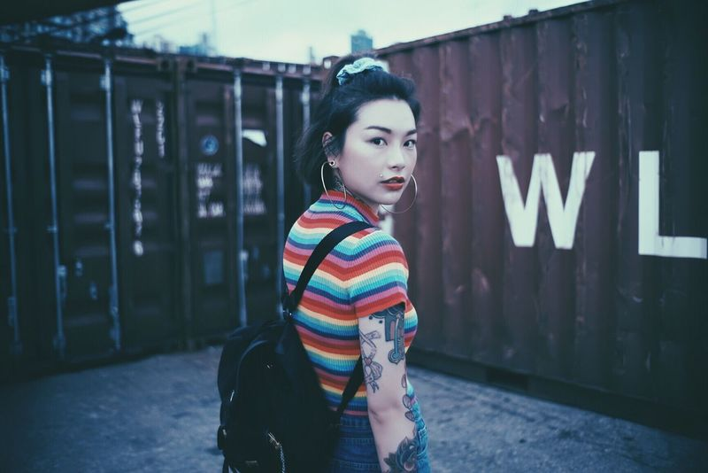the 100% The Portraitist - 2016 EyeEm Awards Asian Girl Girl Blue Moody Portrait Snap Outdoors Tattoo Outdoor Style Fashion Attitude The Week On EyeEm Tattoo Life Tattoolife