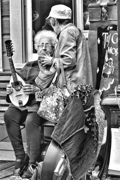 musical conversation Photography Blackandwhite People Musicians Mandolin