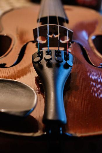 High angle view of violin