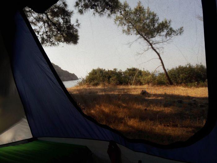 View of tent seen through car window