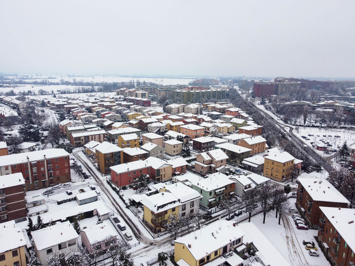 High angle view of townscape against sky during winter