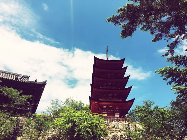 Miyajima Five-storied Pagoda Low Angle View Beautiful Fine Weather Aerial Cloud Temple Built Structure Day Outdoors Tree The Architect - 2017 EyeEm Awards The Great Outdoors - 2017 EyeEm Awards
