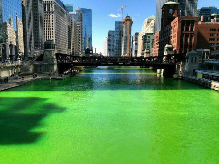 Green river in Chicago Architecture Built Structure Building Exterior City Water Building Office Building Exterior Urban Skyline Cityscape Landscape Waterfront No People Skyscraper Bridge City Life Day Outdoors Modern Swimming Pool Financial District  Chicago Architecture Architectural Column St Patrick's Day Urban City Cityscape Tourism Tourism Destination Travel Travel Destinations Travel Photography