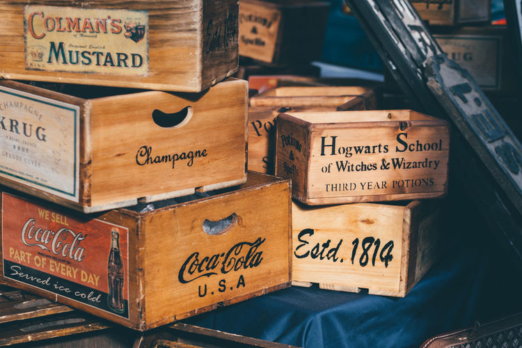 1814 Antiques Antiques Market Box - Container Cardboard Box Champagne Close-up Coca Cola Coca Cola Usa Colmansmustard Communication Estd 1814 Flee Market Hogwarts Hogwarts School Of Witchcraft And Wizardry London Spitalfields Spitalfields Market Text Western Script Wood - Material Wooden Wooden Box Wooden Crate EyeEm LOST IN London