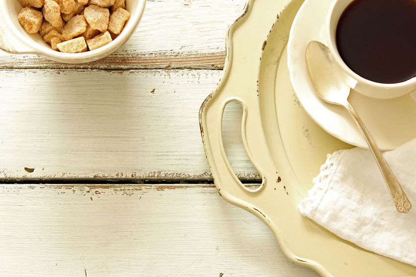 Coffee break Background Breakfast Brunch Coffee Coffee Break Coffee Cup Cup And Saucer Frame Linen Napkin Mock Up Morning Coffee Overhead Serving Tray Silver  Styled Sugar Bowl Sugar Cubes Teaspoon Top View Vintage Weathered Wood White White Wood