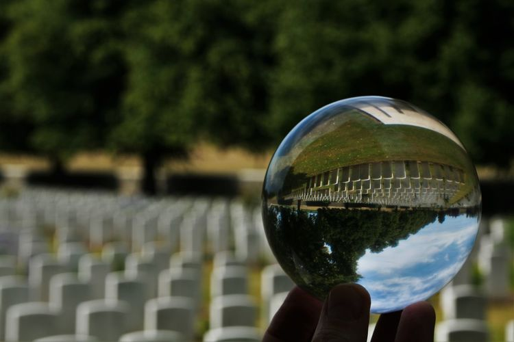 Close-up of hand holding crystal ball with reflection of trees and world war 2 graveyard
