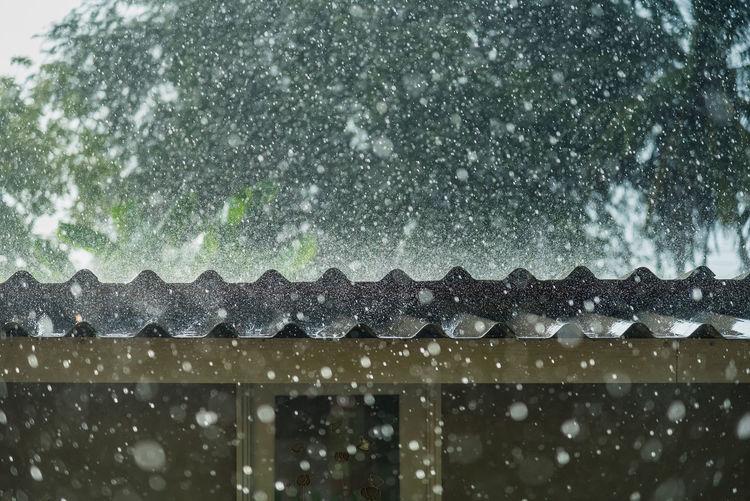 Raindrops on roof during winter season