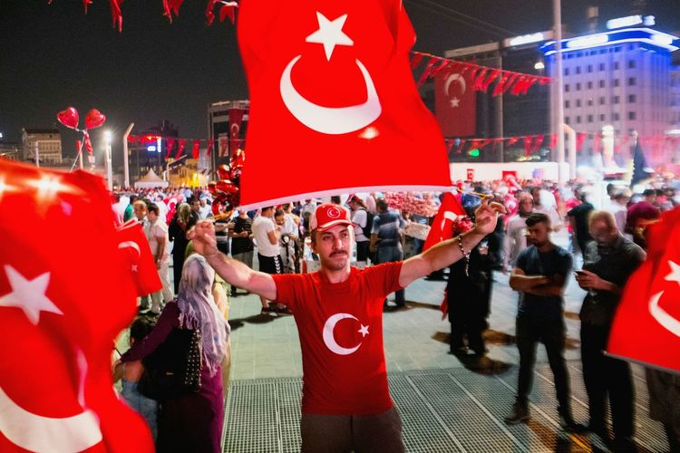 Pro-Democracy demonstration in Taksim Square Istanbul. Turkey Dramatic Angles Patriotism Red Crowd National Flag Night Street Photography VSCO Open Edit EyeEm Gallery City Life Shootermag Colors Street Streetphotography People And Places Darkness And Light Getting Inspired TakeoverContrast