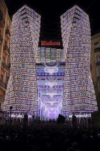 Valencia, Spain Ayuntamiento Valencia Arte Fallas 2016 Colorful Monument Streetart Calles Iluminadas