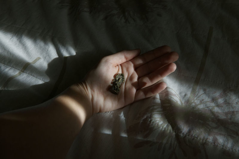 Cropped image of hand holding god figurine on bed at home