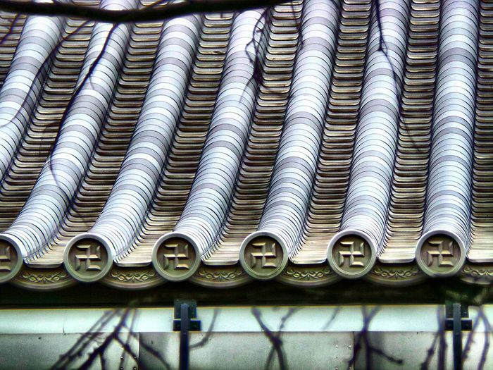 Patterned roof of traditional temple