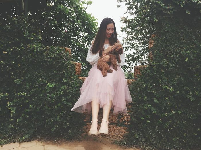 Summer Exploratorium EyeEm Selects into the wood with my best friend. Women Dress Fashion Clothing Green Color Nature Poodlepuppy